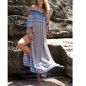 Dresses & Skirts - Bohemian Off Shoulder Long Split Dress